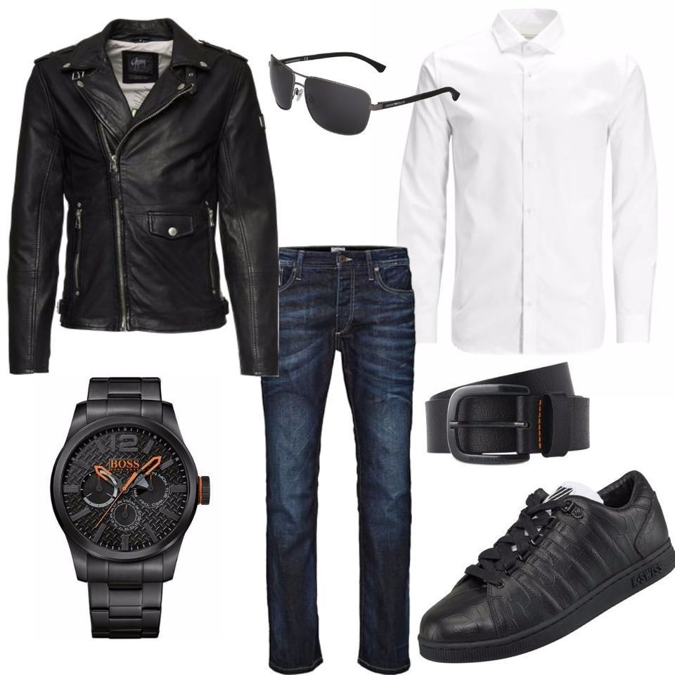 leather boss m nner outfit outfit f r herren zum nachshoppen auf stylaholic. Black Bedroom Furniture Sets. Home Design Ideas